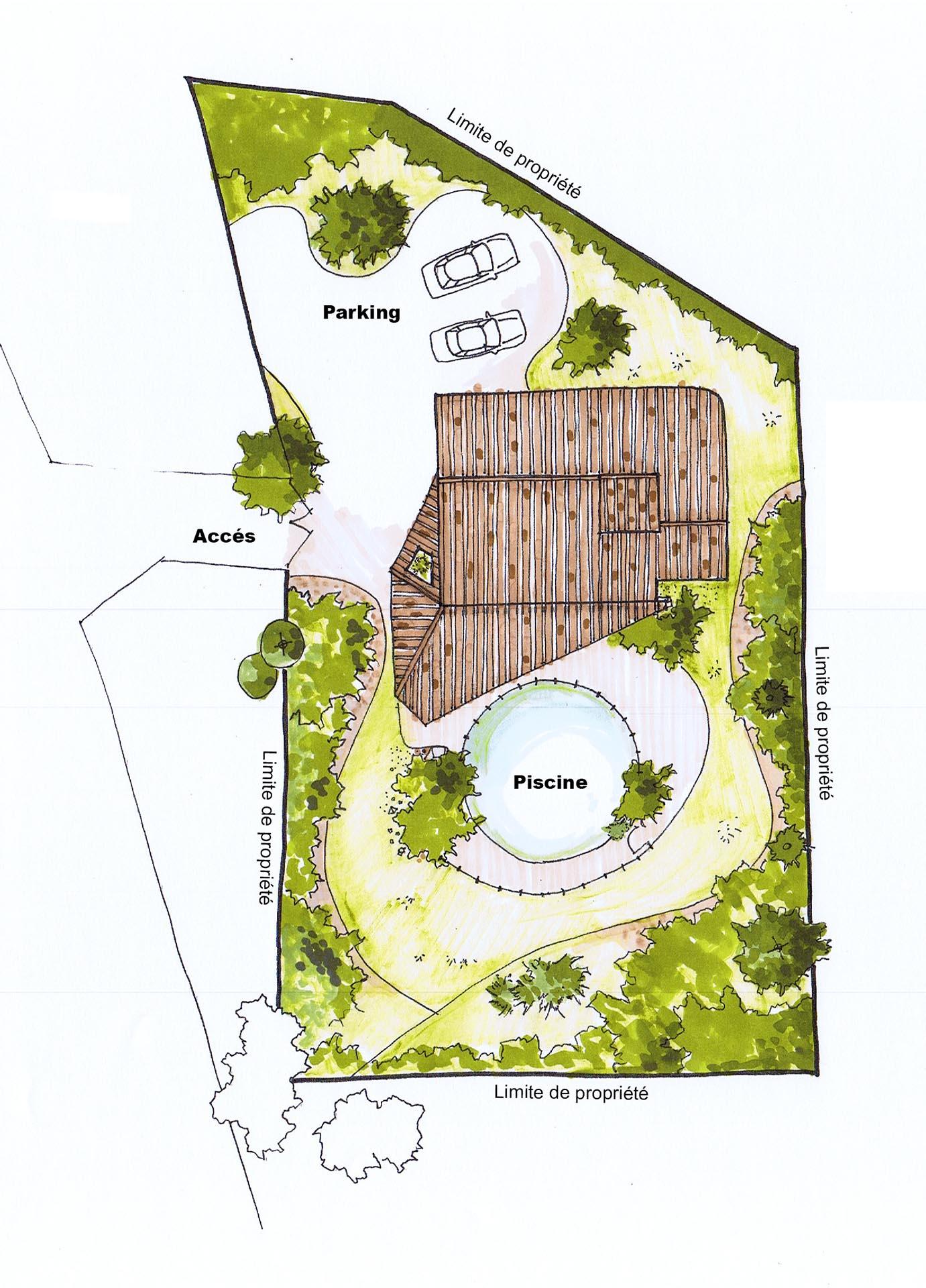 La salle de bain bénéficie dune vue sur un jardin clos par un mur de pierres qui marque lentrée de lhabitation