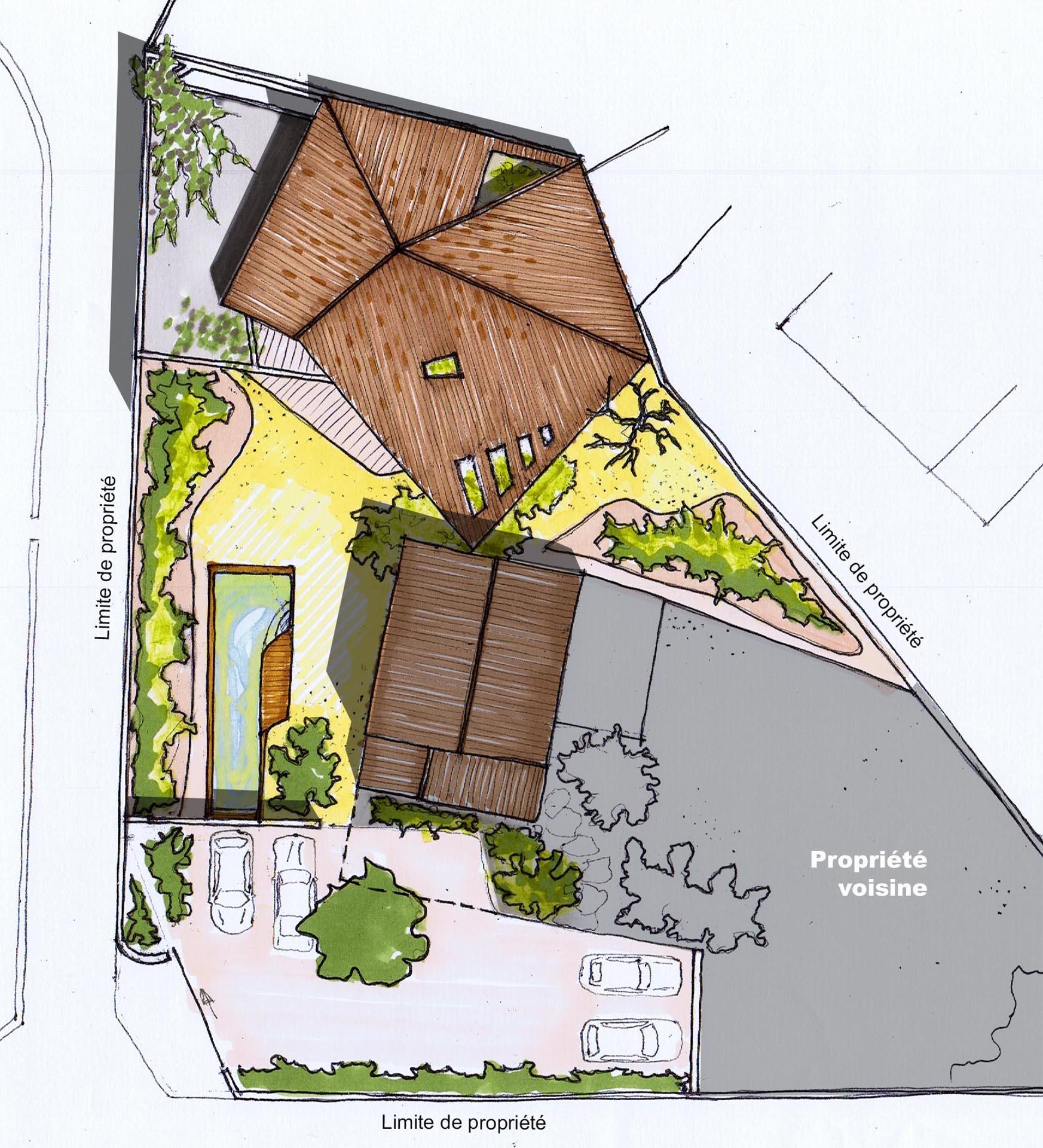 Plan masse d 39 une villa for Plan masse architecture