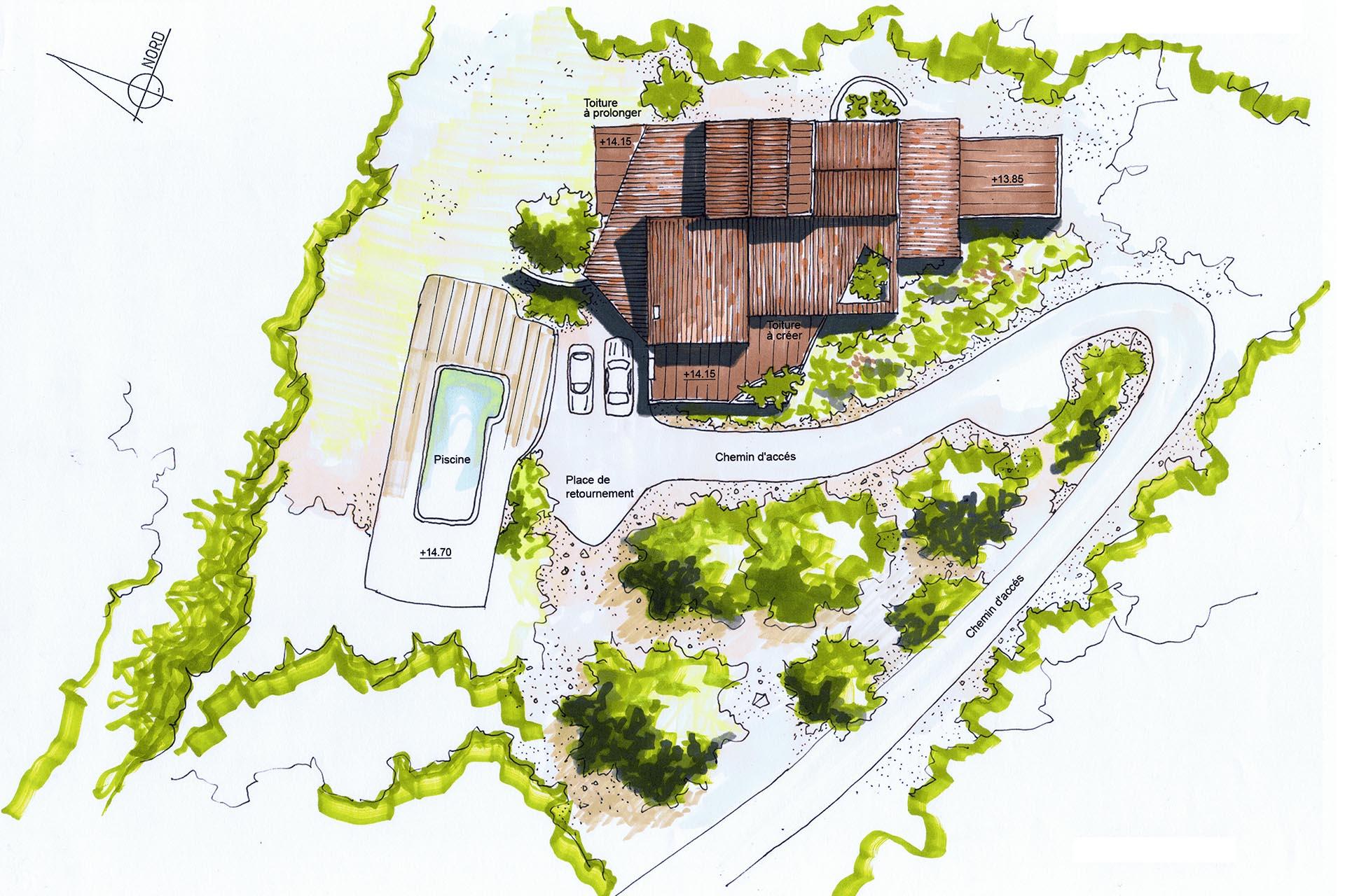 Architecte bandol r novation extension d 39 une maison - Plan de masse d une maison ...