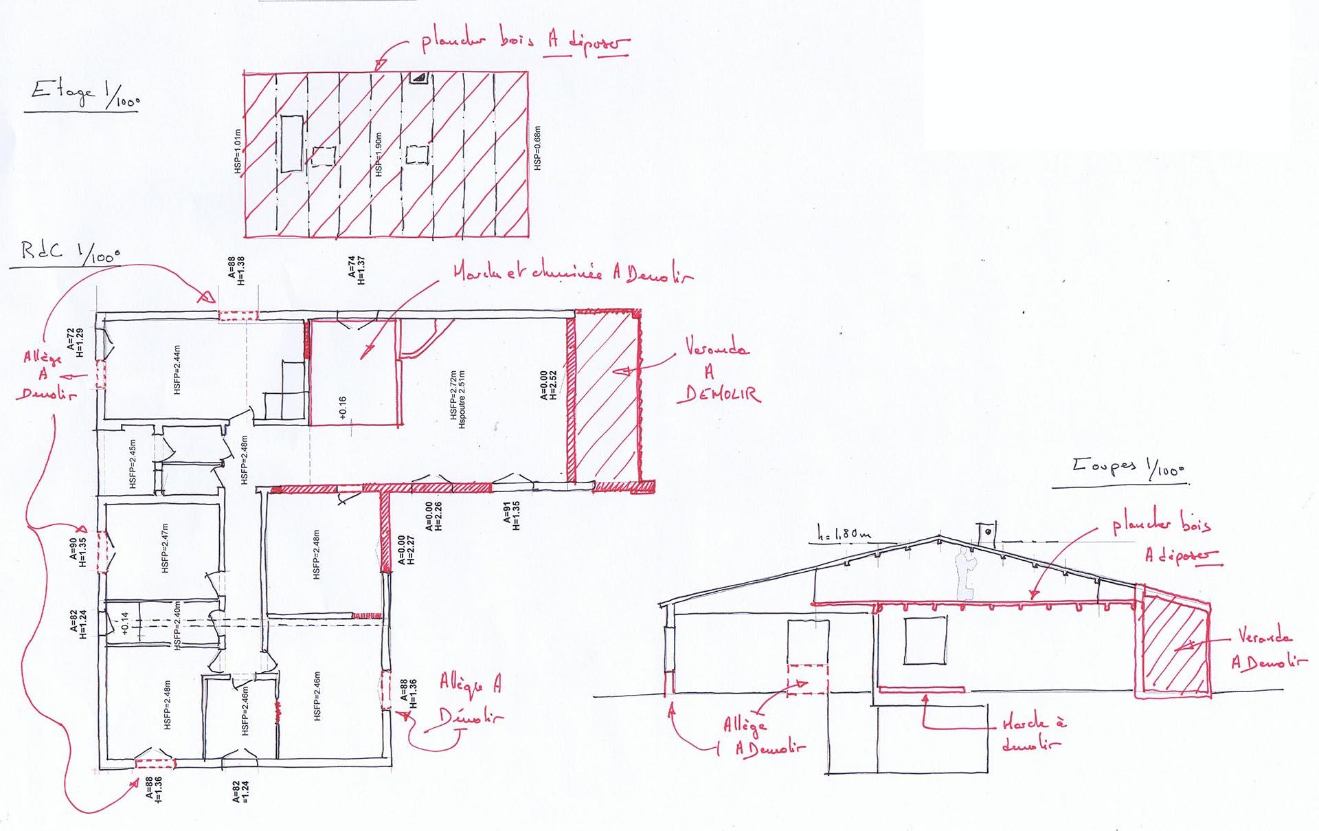 Plans de l'eistant avec les démolitions à prévoir