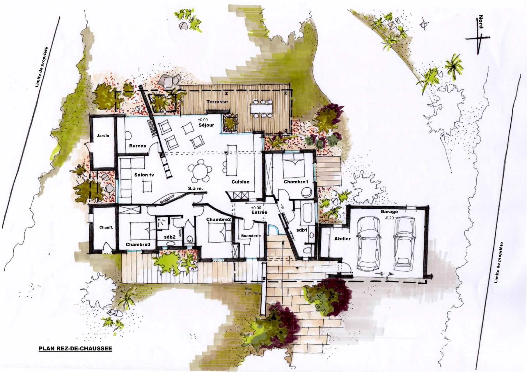Architecte r novation d 39 une maison roquevaire - Plan maison avec jardin interieur ...