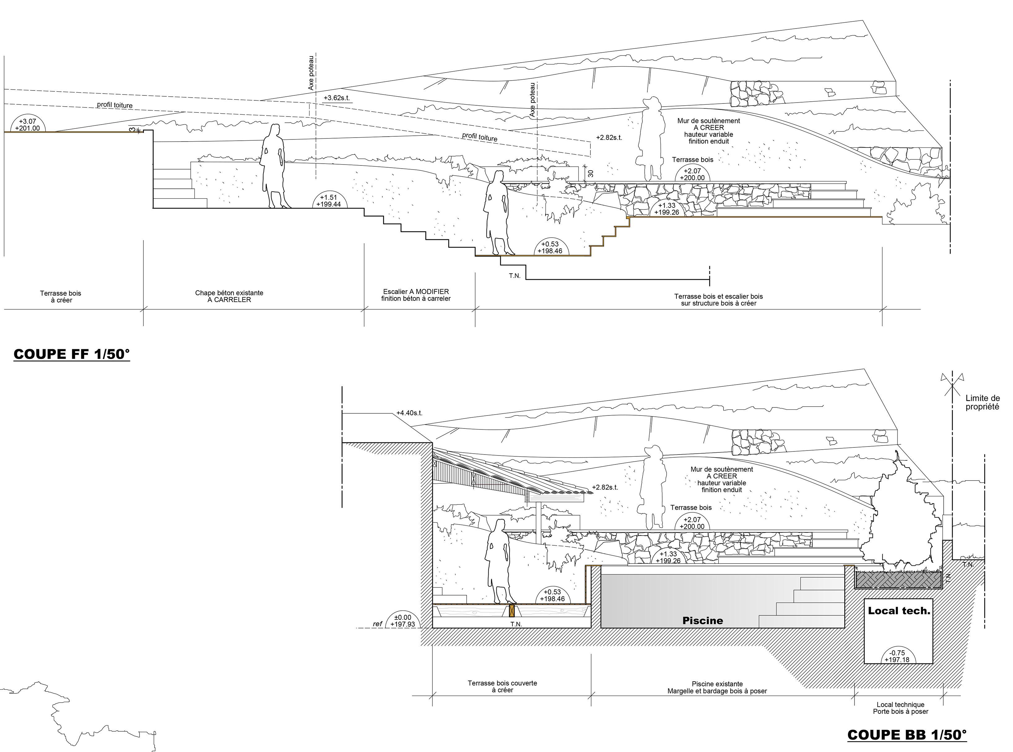 architecte plan de cuques r novation extension d 39 une maison piscine. Black Bedroom Furniture Sets. Home Design Ideas
