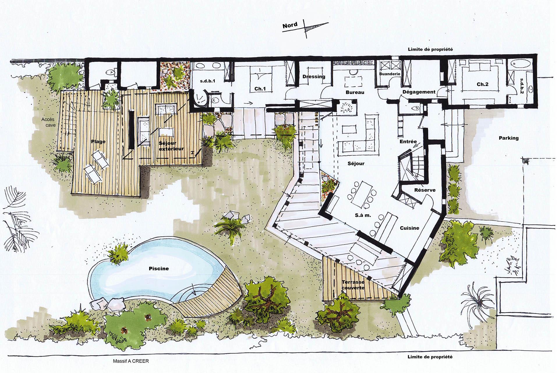 Extension Maison Piscine Couverte architecte aubagne- rénovation extension d'une maison
